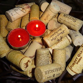 Uncorked by Judy Dean - Artistic Objects Still Life ( wine, candle, cork, uncorked, light,  )