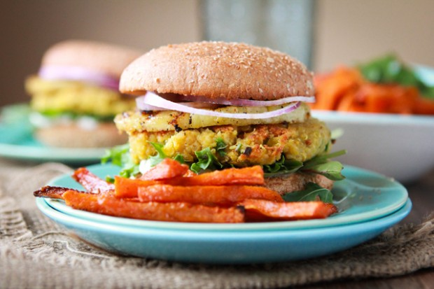 Chickpea Quinoa Pineapple Burgers Recipe