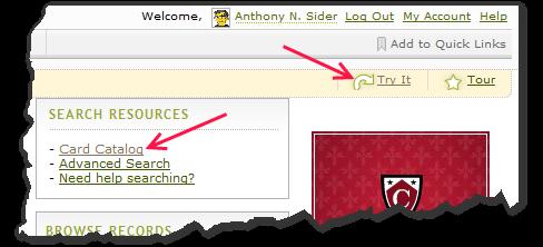 对于旧搜索,请在搜索资源下单击卡目录