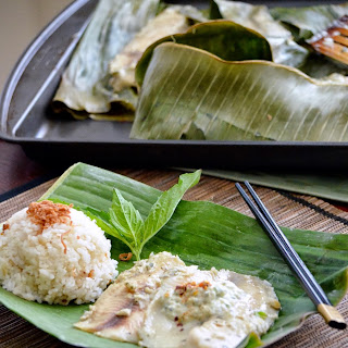 Thai Fish Baked in Banana Leaf.
