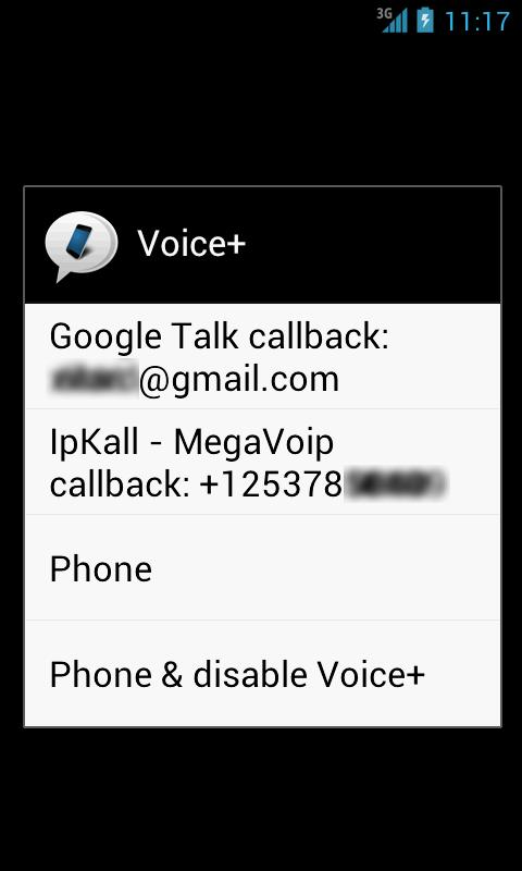 Voice+ (Google Voice callback)- screenshot