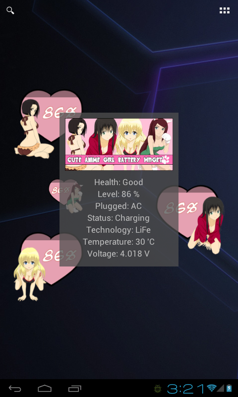 Cute Anime Girl Battery Widget - screenshot