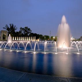 World War II Memorial At Twilight by Glen Fortner - City,  Street & Park  Fountains ( world war ii, dc, washington, memorial, smithsonian, maryland, national mall )