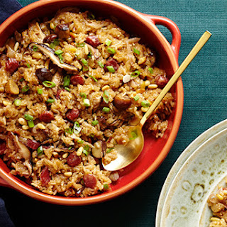 Sticky Rice Stuffing with Chinese Sausage and Shiitakes.