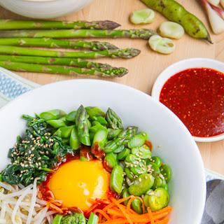 Spring Quinoa Bibimbap with Asparagus, Fiddleheads, Fava Bean and Ramps Recipe
