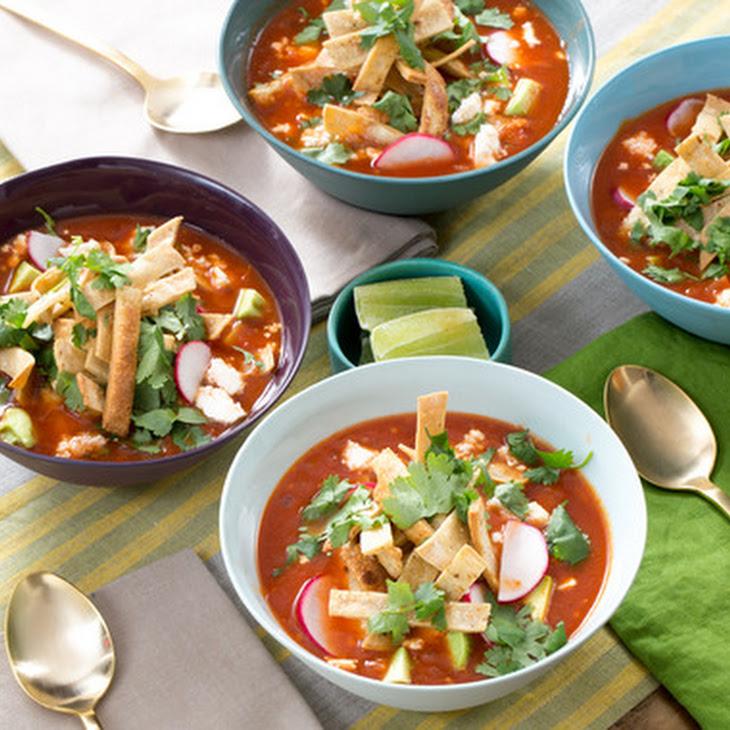 Vegetable Tortilla Soup with Hominy, Avocado & Queso Fresco Recipe