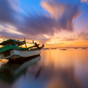 Standby for Journey by Fadly Hj Halim - Landscapes Waterscapes ( clouds, water, bali, reflection, tuban, waterscape, seascapes, sea, beach, boat, morning, nikond3, indonesia, sunrise, fadlyhalim )