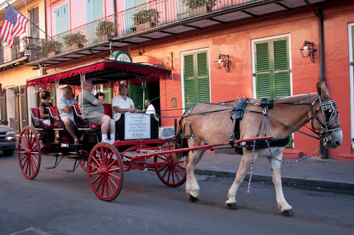 carriage-ride-New-Orleans - A carriage ride in the French Quarter of New Orleans.