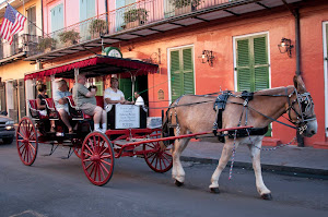 A carriage ride in the French Quarter of New Orleans.