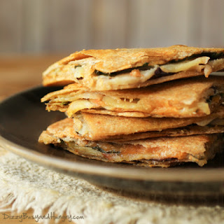 Cheesy Eggplant Apple Quesadillas
