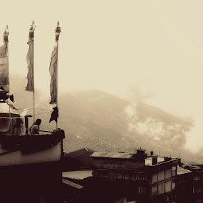 contrast by Ryan Rozario - Landscapes Travel ( clouds, old buildings, mountains, flags, gorkha )