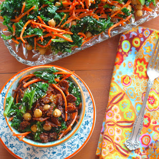 Kale Salad with Chickpeas and Spicy Tempeh Bits.