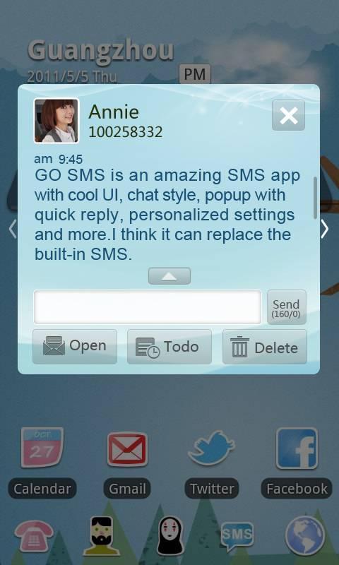 GO SMS Pro Light Blue theme screenshot #1