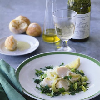 White Wine-Poached Scallop and Herb Salad