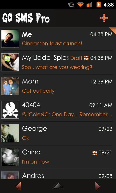 Go SMS Theme Orange Minimal - screenshot