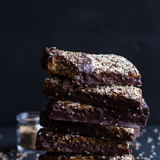 Dark Chocolate Dipped Crunchy Coconut Cashew Sesame Bars.