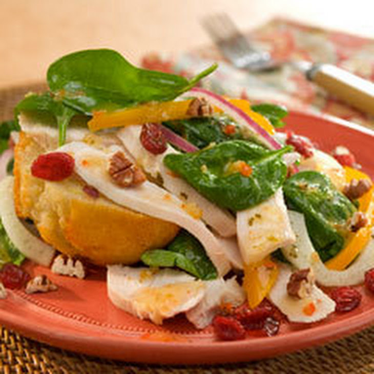 Leftover Turkey & Spinach Salad on Corn Muffins Recipe