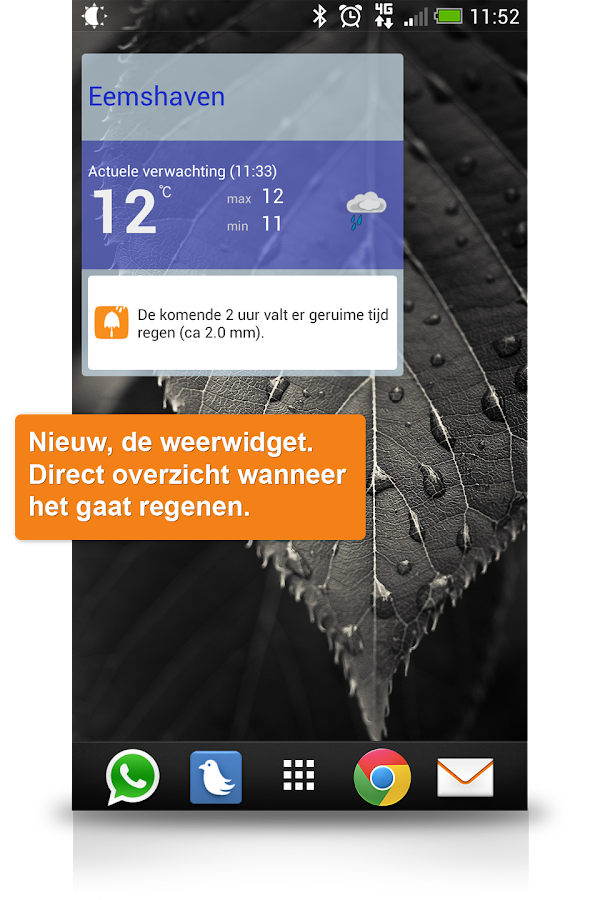 Weerplaza met buienalarm - screenshot
