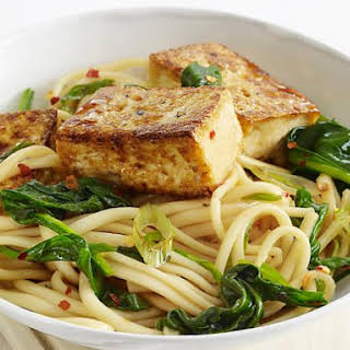 Udon with Tofu and Asian Greens.