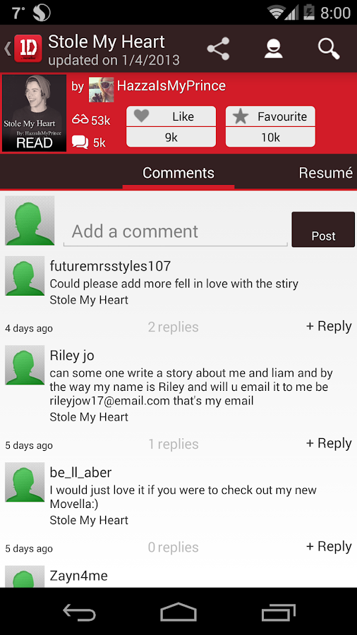 One Direction (1D) Fanfiction - screenshot