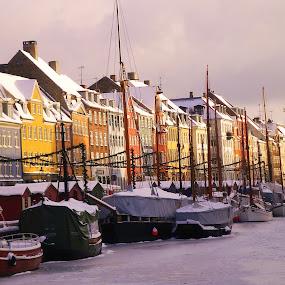 Copenhagen by Brent Huntley - Transportation Boats ( copenhagen, brentsfavoritephotos.blogspot.com, houses, ice, boats, denmark, river,  )