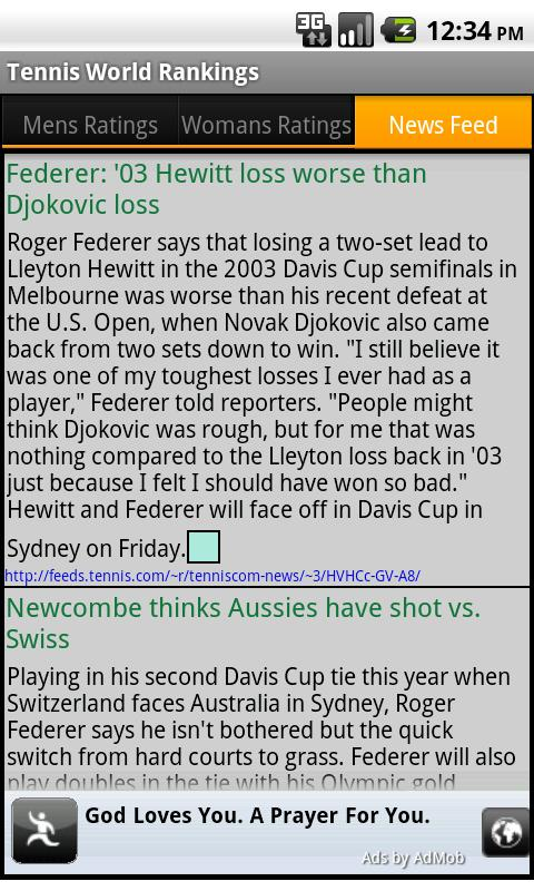 Tennis World Rankings and News - screenshot