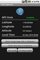 Screenshot of GPS2Clipboard.