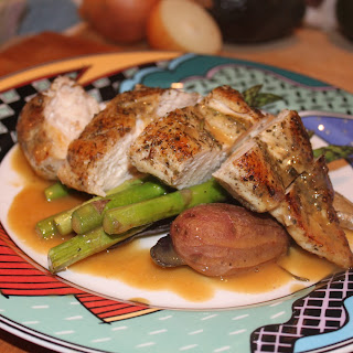 Herbed Chicken with Roasted Asparagus and Fingerlings.