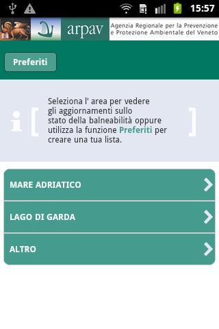 App ARPAV balneazione- screenshot