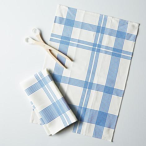 Two 52 Stripes Tea Towel + Toast Tongs Set
