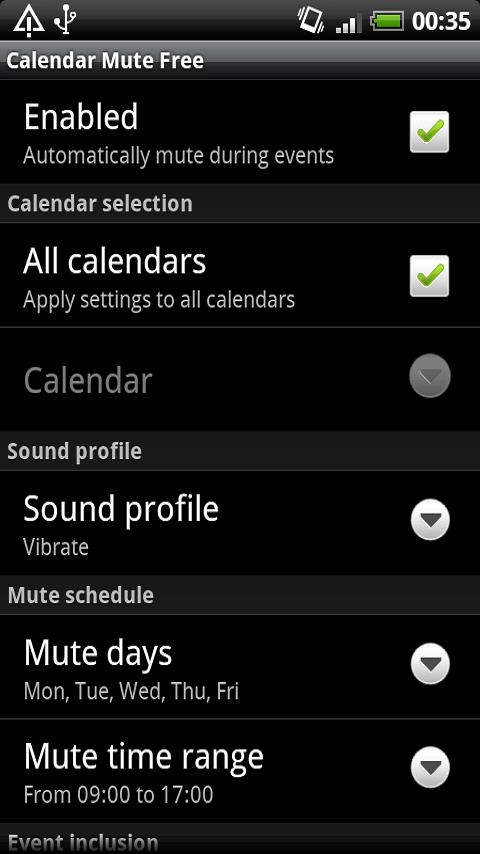 Calendar Mute Free - screenshot