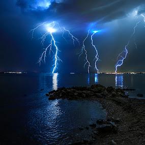 Furious storm  by Davor Strenja - Landscapes Waterscapes ( shore, lightning, sky, thunderstorm, bibinje, blue, croatia, sea, zadar, storm )