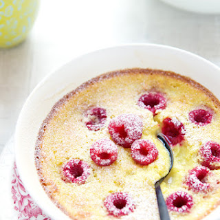 Baked Lime Custards With Raspberries.