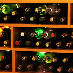 Wine Bottles by Thakkar Mj - Food & Drink Alcohol & Drinks ( wine, light effect, back light, bottles, bottle stand,  )