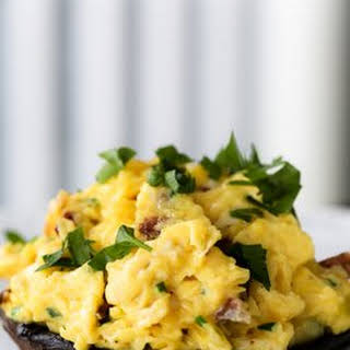 Portobello Mushrooms Stuffed with Scrambled Eggs.