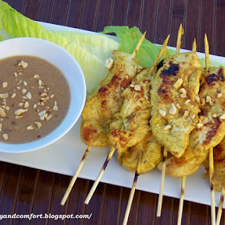 Chicken Satay Skewers with Spicy Thai Peanut Dipping Sauce.