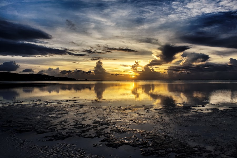 Reflections By The Bay by Jun Robato - Landscapes Sunsets & Sunrises ( clouds, guam, sunsets, skyscapes, reflections, landscapes )