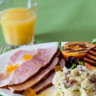 Easter Ham with Grilled Peaches.