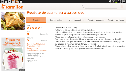 Marmiton Tablette : recettes - screenshot thumbnail