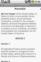 Screenshot of US Constitution and Government