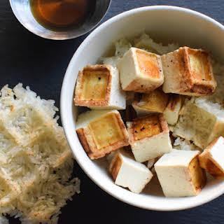 Waffled Miso-Sesame Tofu With Waffled Sticky Rice.