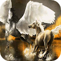Two horses in water LWP icon