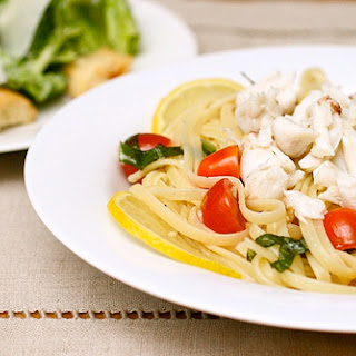 Crab Linguine with Lemon and Basil.