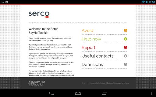 Serco Say No Toolkit tablet