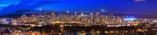 night-panorama-Vancouver-British-Columbia - A nighttime panoramic view of Vancouver, British Columbia, from Fairview Slopes.