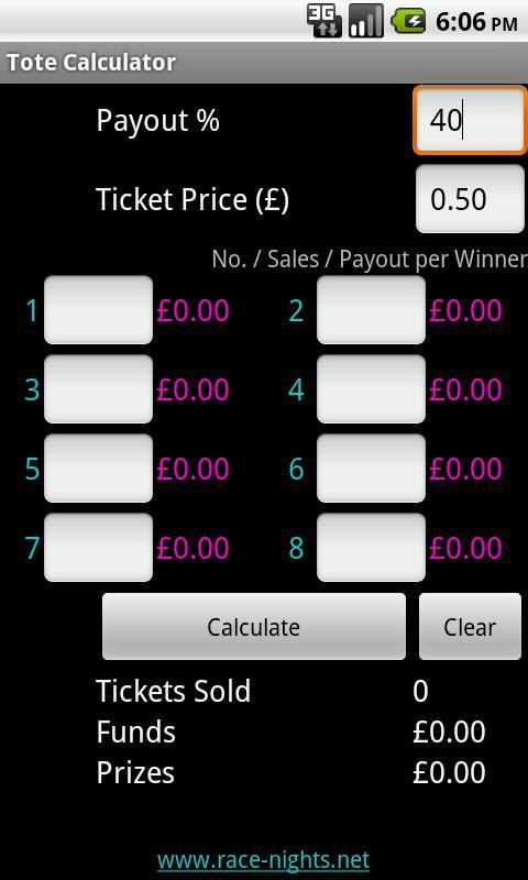 Race Night Tote Calculator- screenshot