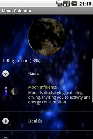Moon Calendar - legacy- screenshot