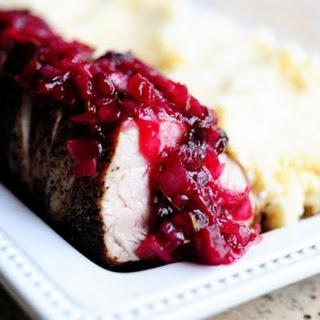 Pork Tenderloin with Cranberry Sauce.