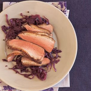 Seared Duck Breast with Zinfandel-Braised Red Cabbage.