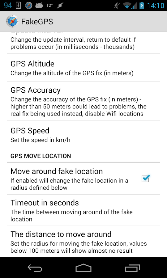 Fake GPS Go Location Spoofer: captura de pantalla